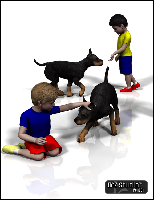 Kid and Dog by: Muscleman, 3D Models by Daz 3D