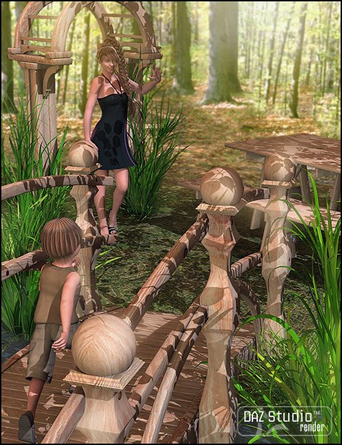 Garden Escape Bridge by: ARTCollab, 3D Models by Daz 3D