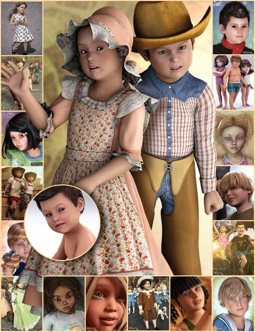 The Kids 4 Pro Bundle by: SWAMeshaCountessgoldtasselLourdesMusclemanNeftis3DPropschickRyverthornSarsaThorne, 3D Models by Daz 3D