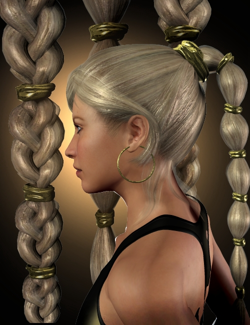 Princess Tails Hair Set by: Neftis3D, 3D Models by Daz 3D