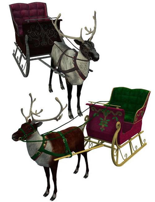 Reindeer & Sleigh by: MAB, 3D Models by Daz 3D
