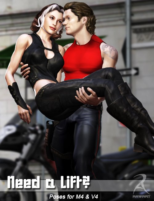 Need a Lift - poses for M4 and V4 by: RawArt, 3D Models by Daz 3D