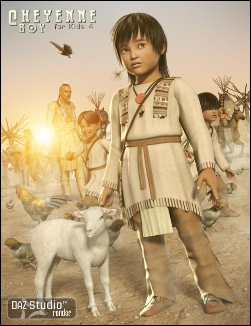 Cheyenne Boy for Kids 4 by: Ravenhair, 3D Models by Daz 3D