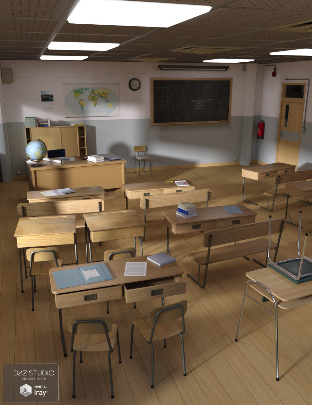 Interiors The Classroom by: maclean, 3D Models by Daz 3D
