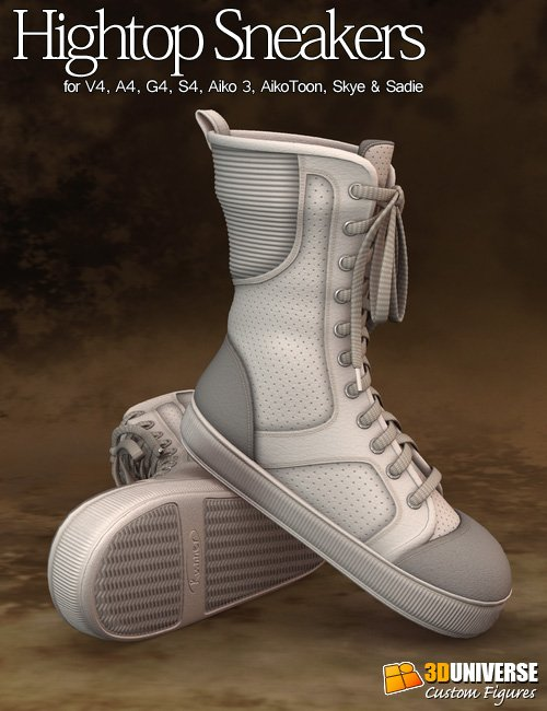Hightop Sneakers Girls by: 3D Universe, 3D Models by Daz 3D
