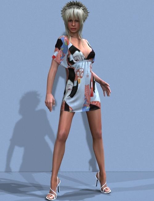 Kimono Dress by: OptiTex, 3D Models by Daz 3D
