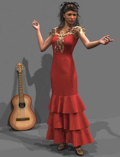 Flamenco Dress by: OptiTex, 3D Models by Daz 3D