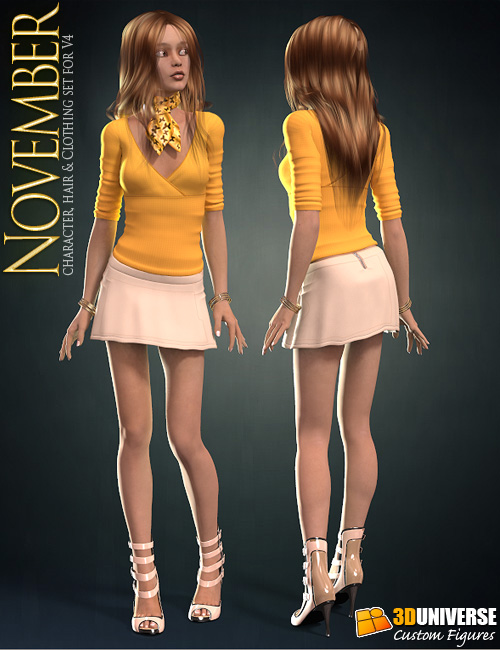 November Clothing for V4 by: 3D Universe, 3D Models by Daz 3D