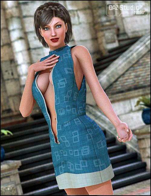 Silky Open Front Dress by: Barbara Brundon, 3D Models by Daz 3D