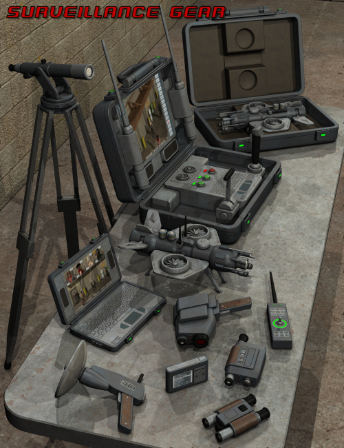 Surveillance Gear by: Nightshift3D, 3D Models by Daz 3D
