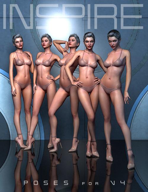 Inspire Poses for V4 by: Shimuzu, 3D Models by Daz 3D