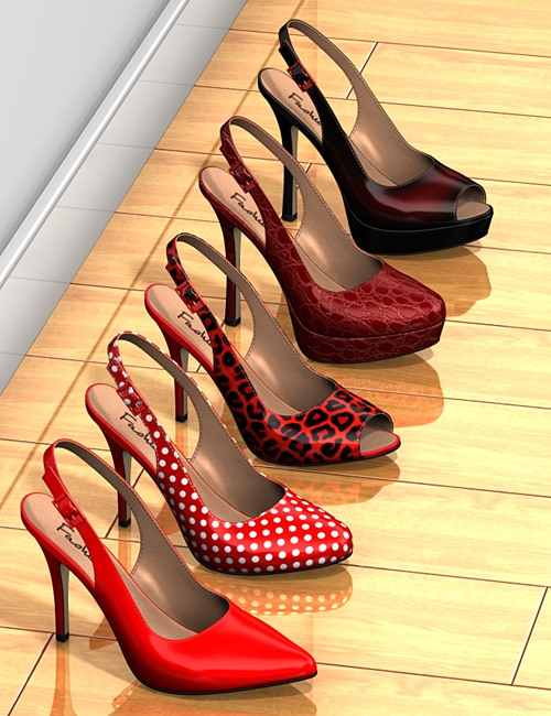 Five pairs of sling-back pumps by: idler168, 3D Models by Daz 3D