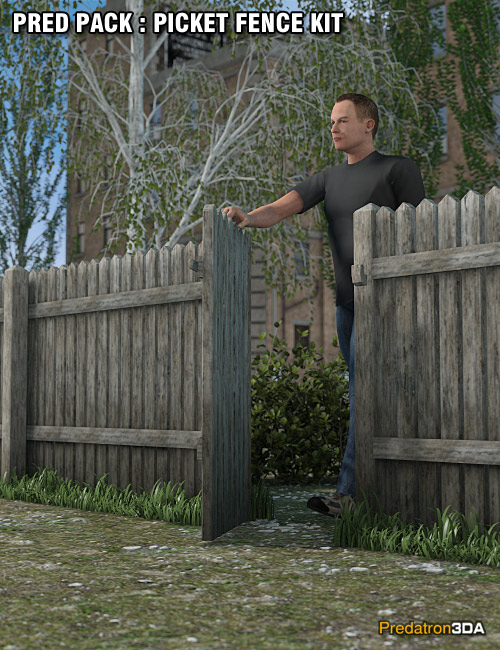 Pred Pack - Picket Fence Kit by: Predatron, 3D Models by Daz 3D