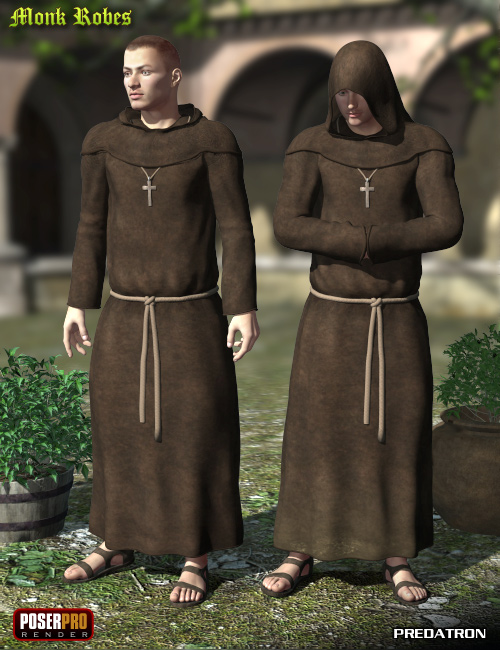 Monk Robes for M4 by: Predatron, 3D Models by Daz 3D