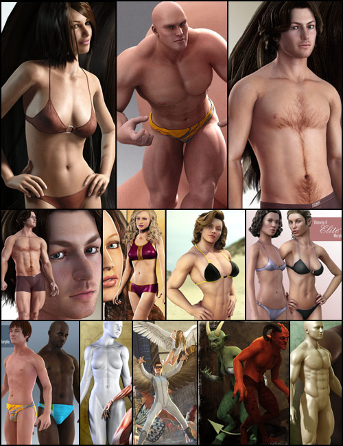 Super-Physicality Bundle by: RawArtpdxjimsSarsaSkyewolf, 3D Models by Daz 3D