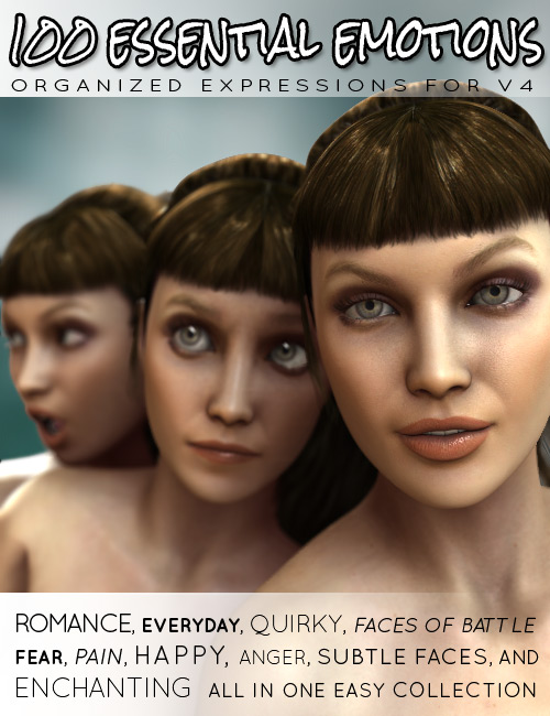 100 Essential Emotions for V4 by: ironman13, 3D Models by Daz 3D