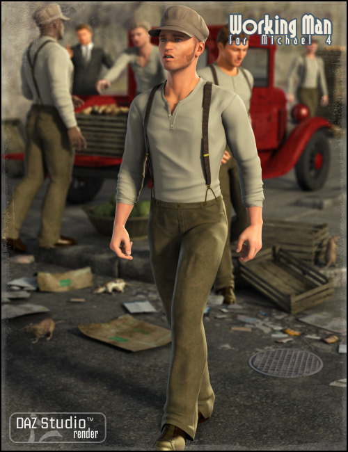 Working Man for M4 by: Ravenhair, 3D Models by Daz 3D