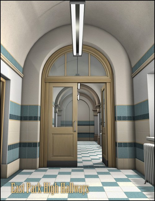 East Park High Hallways by: Gordana, 3D Models by Daz 3D