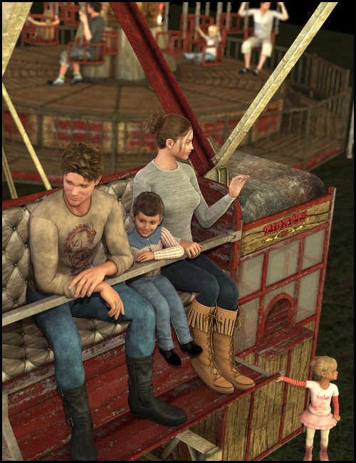 Carnival Ride Poses by: Digiport, 3D Models by Daz 3D