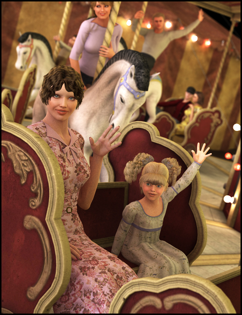 Carnival Carousel Poses by: Digiport, 3D Models by Daz 3D