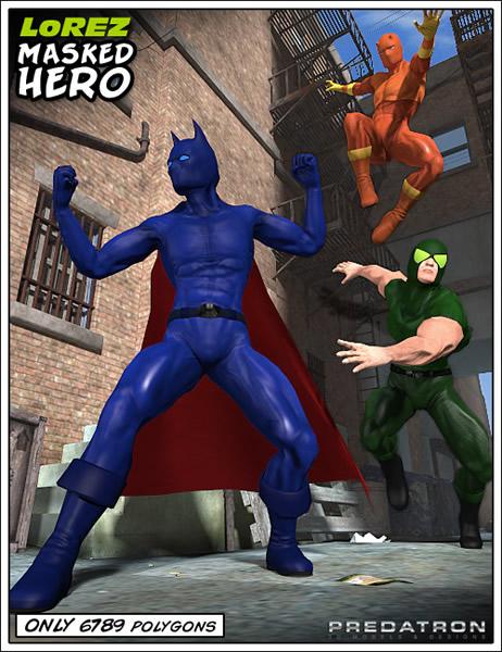 LoREZ Masked Hero by: Predatron, 3D Models by Daz 3D