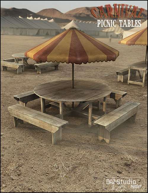 Carnival Picnic Tables by: Jack Tomalin, 3D Models by Daz 3D