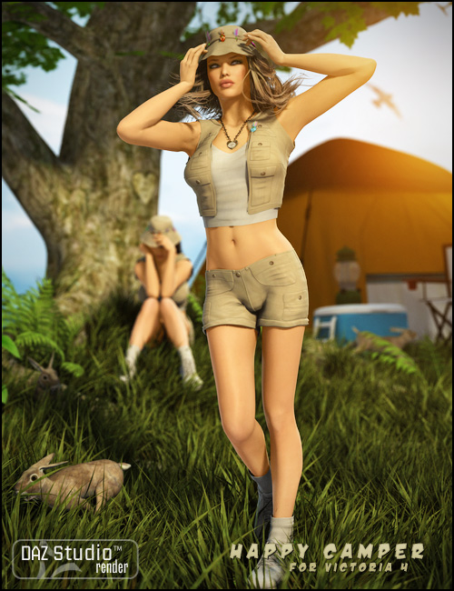 Happy Camper for V4 by: Propschick, 3D Models by Daz 3D