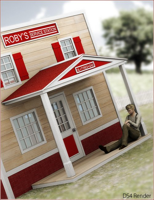 The Playhouse Collection: Roby's Service Station by: ForbiddenWhispersFWDesign, 3D Models by Daz 3D