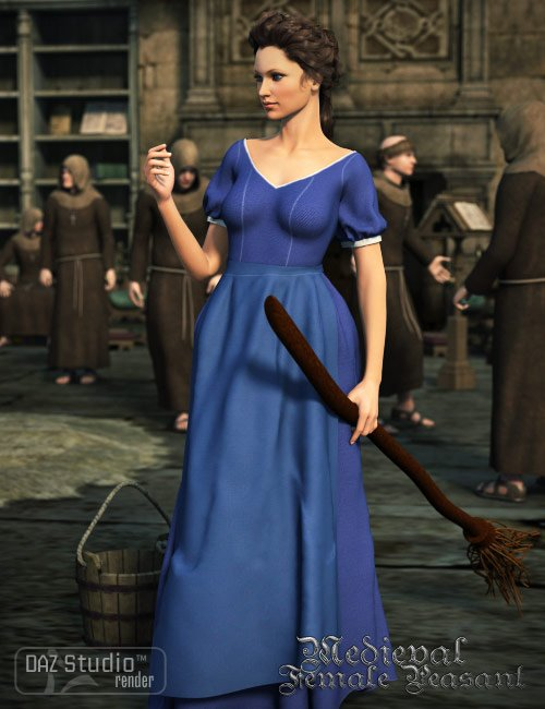 Medieval Female Peasant Clothing for Genesis by: Cute3D, 3D Models by Daz 3D