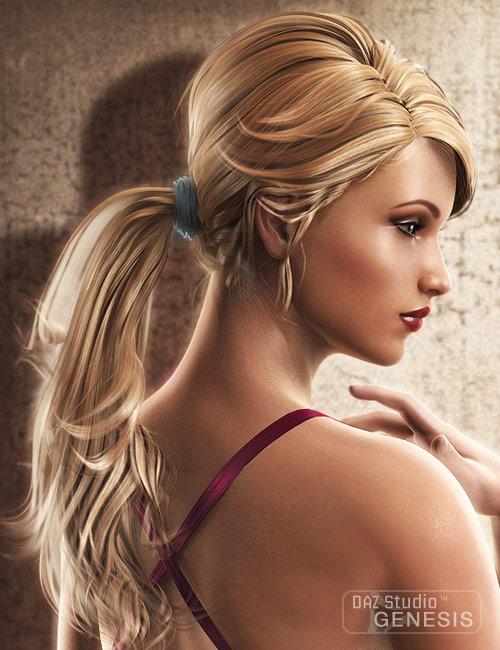 Victoria 5 Elite Ponytail Hair by: -Yannek-Debra Rossetujedi, 3D Models by Daz 3D