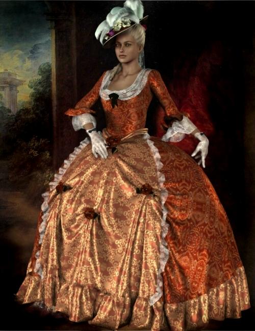 Marie Louise 18th Century Gown by: Neftis3D, 3D Models by Daz 3D