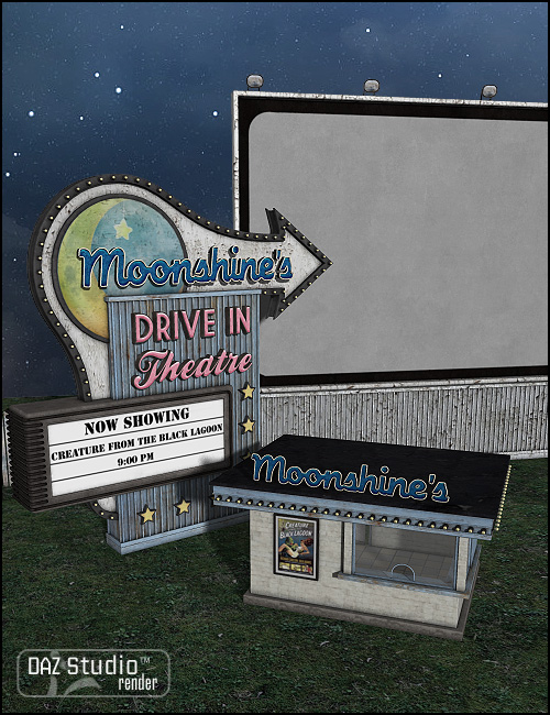 Moonlit Moonshine's Drive-In by: Sarsa, 3D Models by Daz 3D