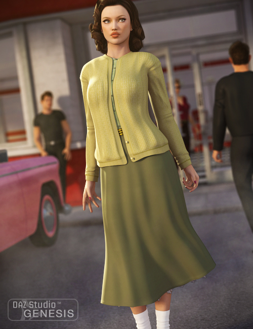 Everyday 1950 for Genesis Female by: Ravenhair, 3D Models by Daz 3D