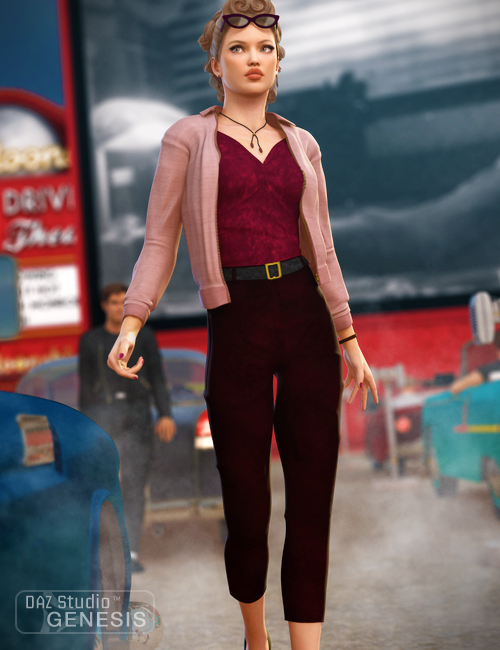 Casual 1950 for Genesis Female by: Ravenhair, 3D Models by Daz 3D