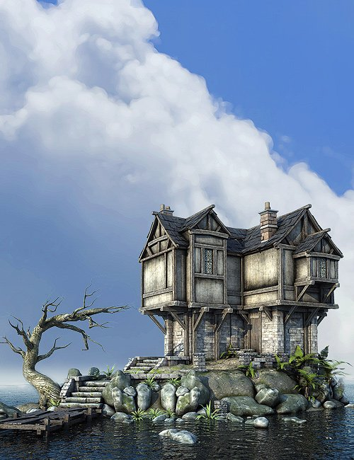 Worlds Of Fantasy : Medieval House by: Stonemason, 3D Models by Daz 3D