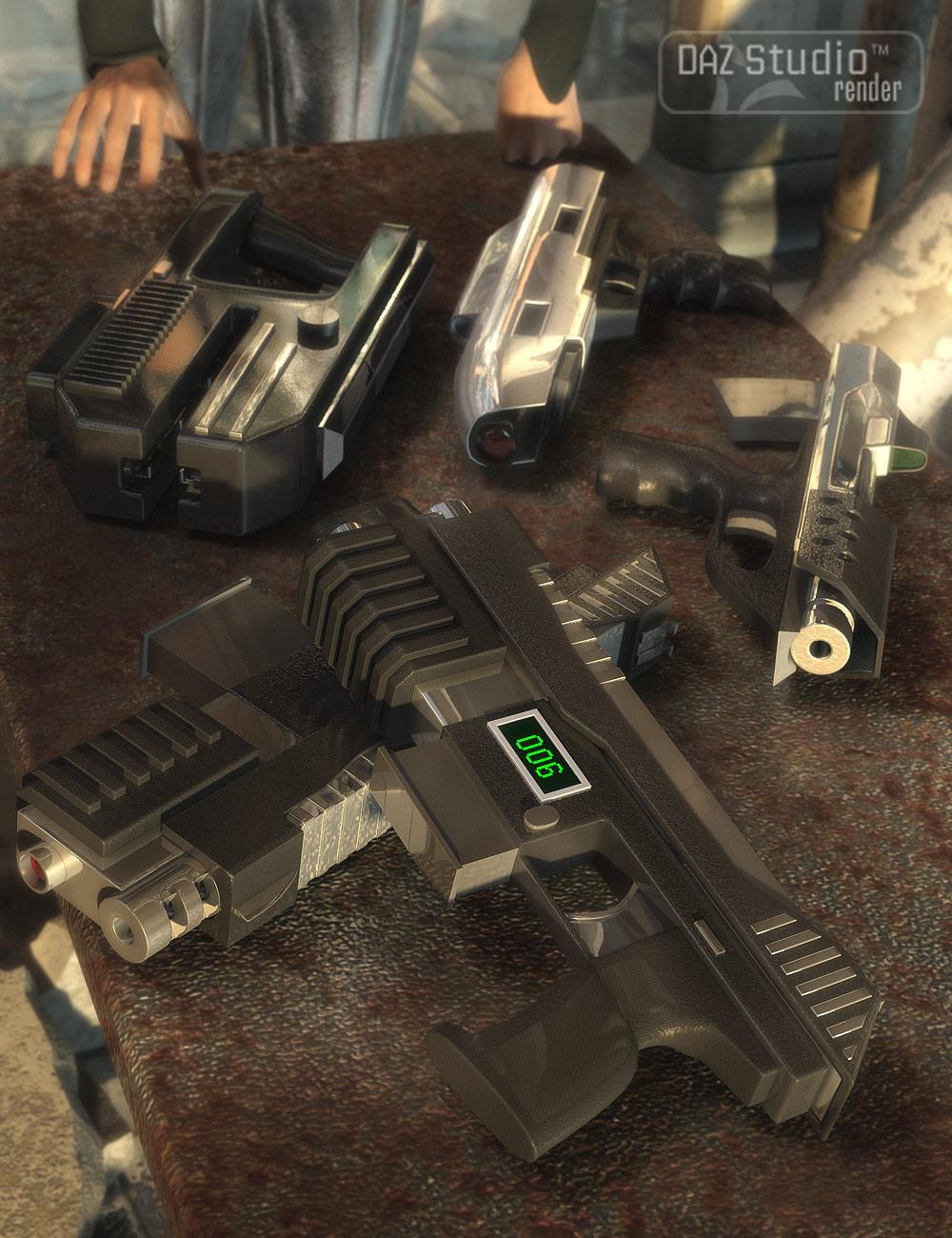 Science Fiction Pistols by: Valandar, 3D Models by Daz 3D