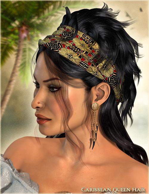Caribbean Queen Hair by: Valea, 3D Models by Daz 3D