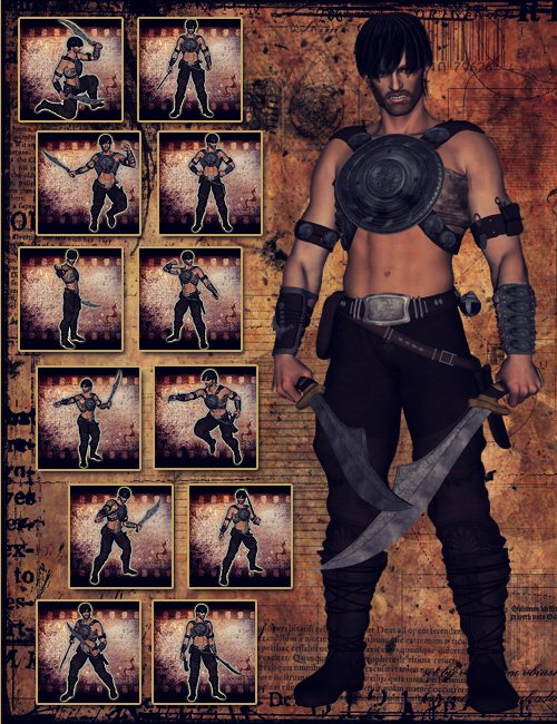 Fantasy Warrior Poses by: Val3dart, 3D Models by Daz 3D