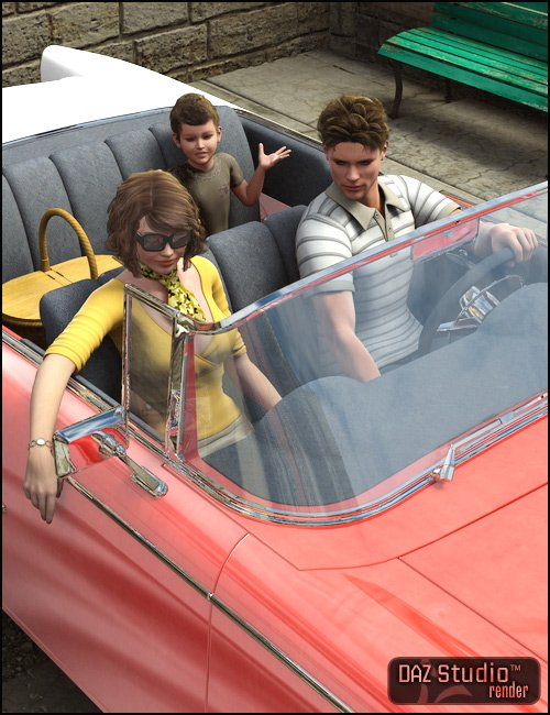 Family Car 1950 Poses by: Digiport, 3D Models by Daz 3D