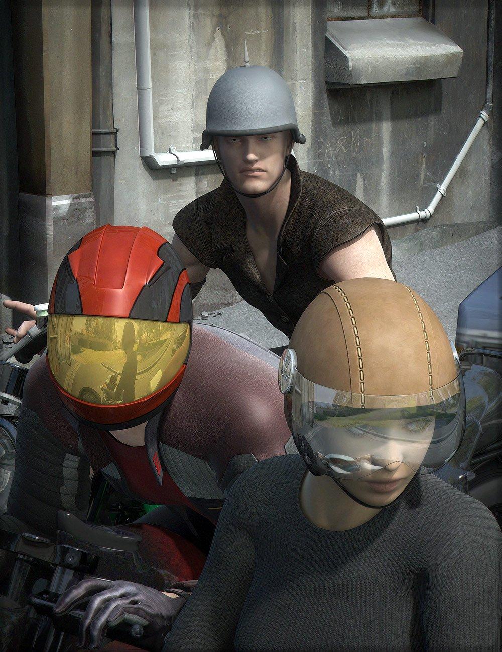 Motorcycle Helmets for Genesis by: Valandar, 3D Models by Daz 3D