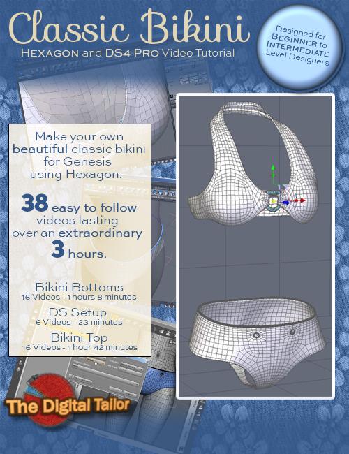Classic Bikini (Hexagon and DAZ Studio 4 Pro Video Tutorial) by: Fugazi1968, 3D Models by Daz 3D