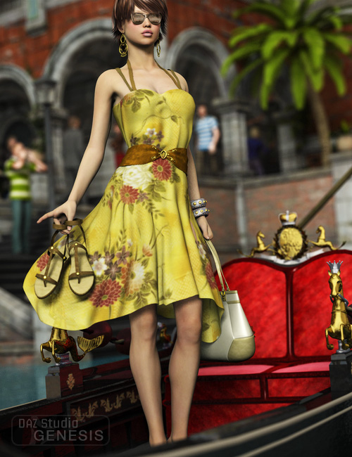 Summer Dress for Genesis by: Ravenhair, 3D Models by Daz 3D