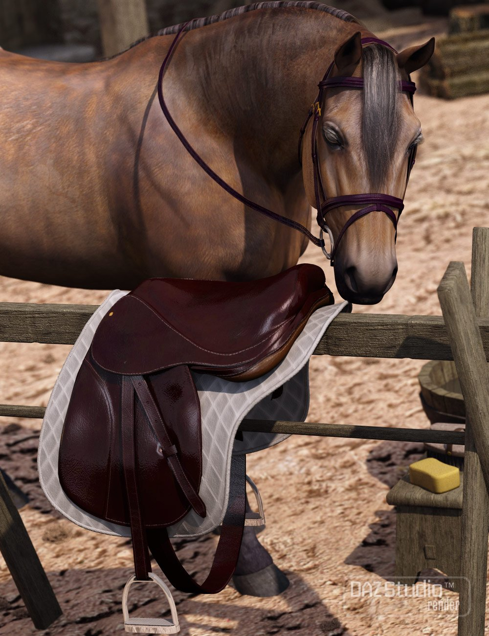 English Saddle for DAZ Horse 2 by: WillDupre, 3D Models by Daz 3D
