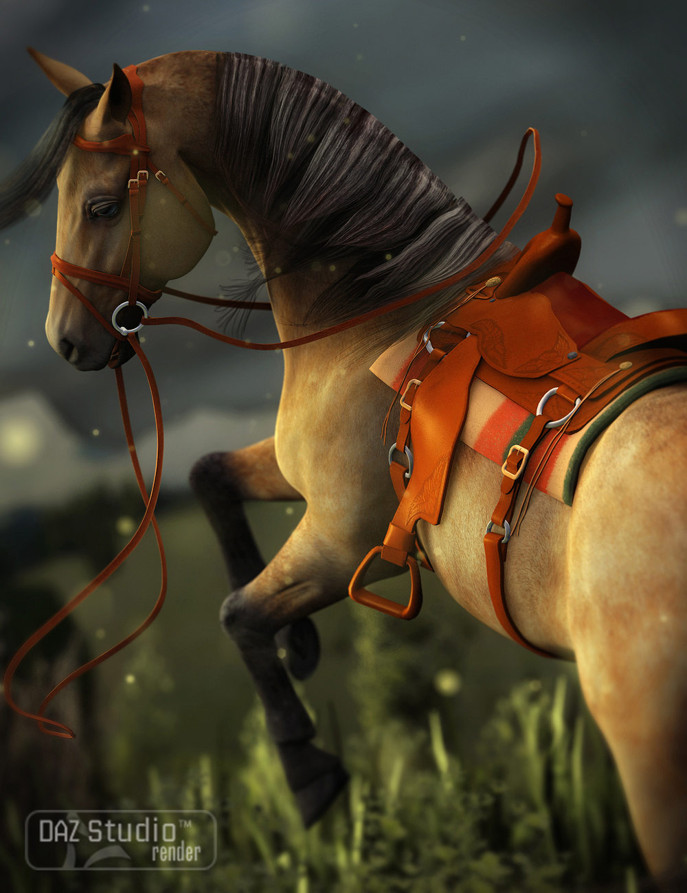 Western Saddle for DAZ Horse 2 by: WillDupre, 3D Models by Daz 3D