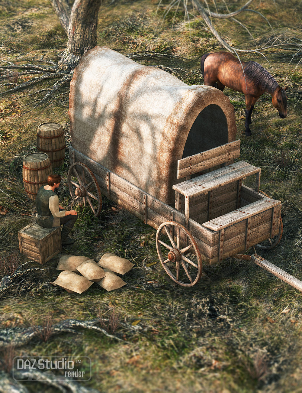 Wagon Trail 1 by: ARTCollab, 3D Models by Daz 3D