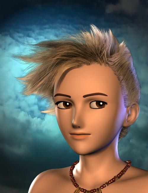 Nikkou Hair for Hiro 5 by: Neftis3D, 3D Models by Daz 3D