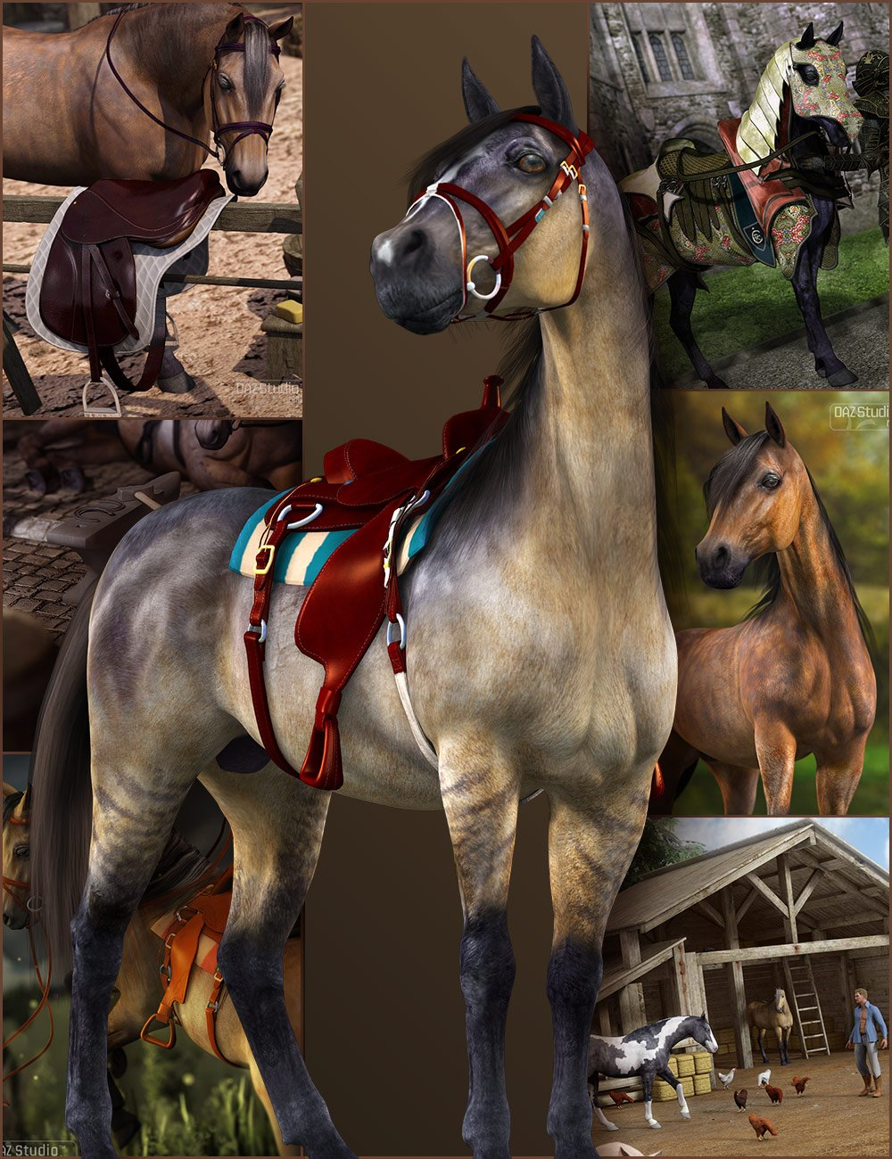 DAZ Horse 2 Starter Bundle by: , 3D Models by Daz 3D