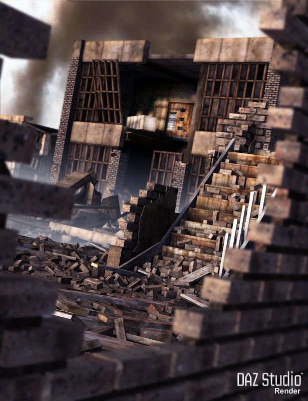 Destroyed City by: The DigiVault, 3D Models by Daz 3D