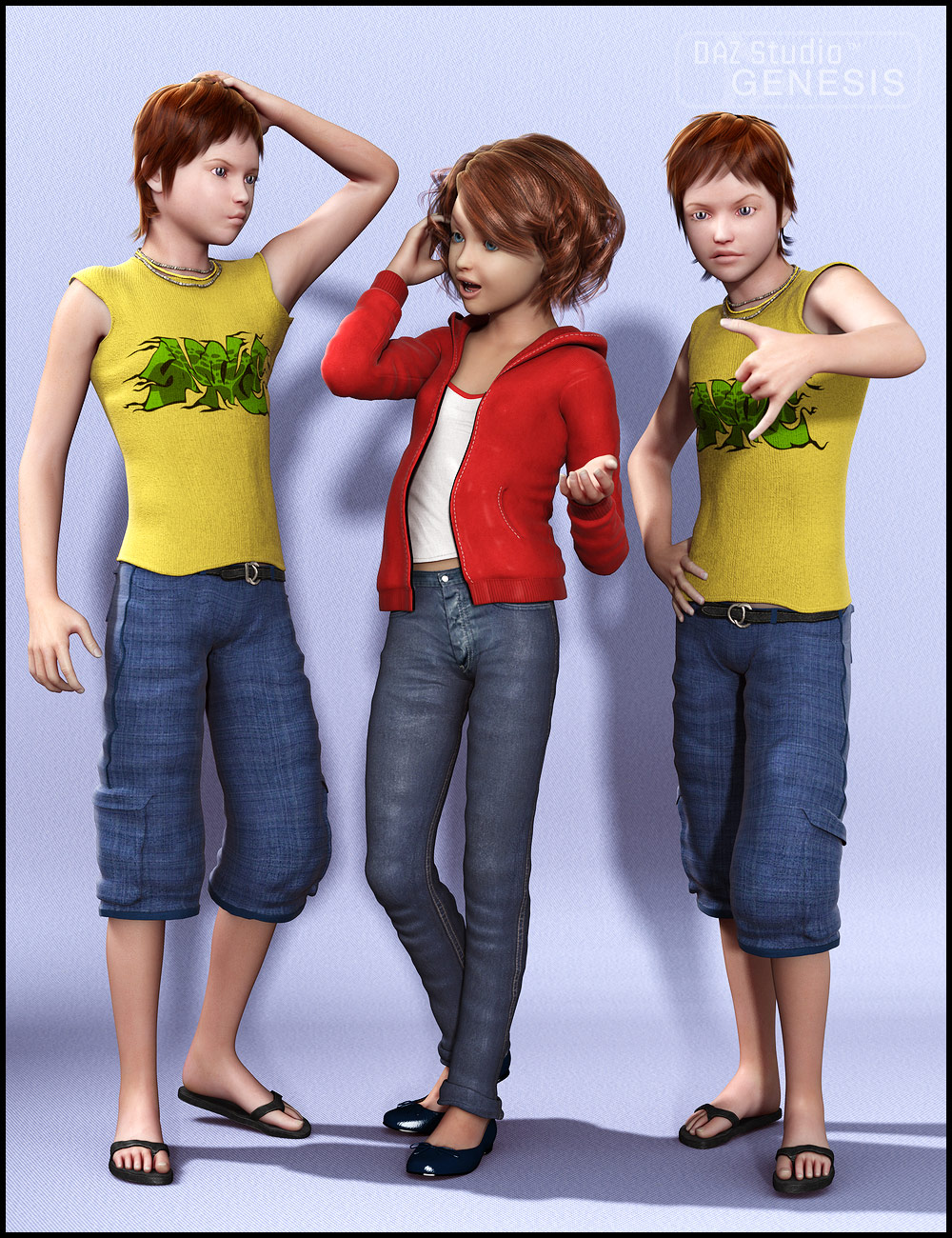 Teenage Poses by: Muscleman, 3D Models by Daz 3D