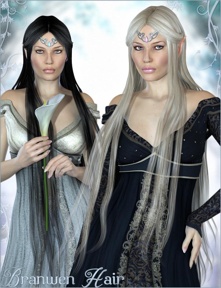 Branwen Hair by: Valea, 3D Models by Daz 3D